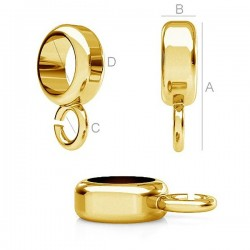 Spacer bead 11x3mm with loop 24K gold plated 925.Silver (x1)