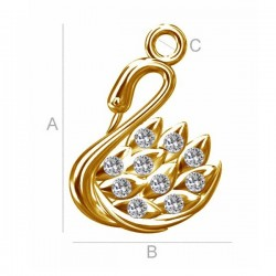Swan pendant with Swarovski® crystals 24K Gold plated over silver AG925 (x1)