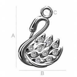 Swan pendant with Swarovski® crystals Rhodium plated sterling silver AG925 (x1)